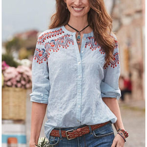 Sundance Seize the Day Embroidered Crinkle Shirt